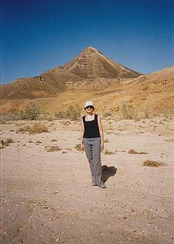 Johnna Kaplan hiking in the Negev in 2002.