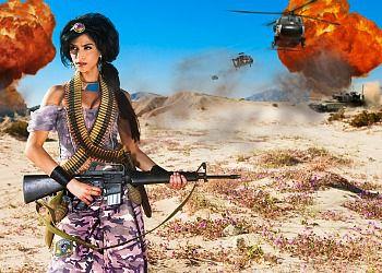 Disney princess Jasmine reimagined as an Islamic militant by photographer Dina Goldstein.