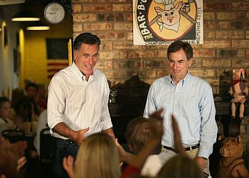 Senate candidate Richard Mourdock and Gov. Mitt Romney at an event in Indiana in August.