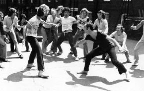 Circa 1972: Edgar Finch and Peter Daly rehearse as part of The Jets and The Sharks, two youth gangs in the musical ?West Side Story?.