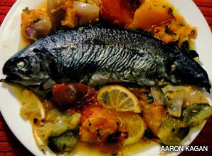 HEAD OF THE YEAR: Moroccans observe the custom of serving a whole fish on Rosh Hashanah. Above, Moroccan baked white fish.