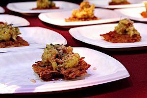 BAMcafe Indian Spiced Latke with Cauliflower Chutney & Crushed Cashew Nuts