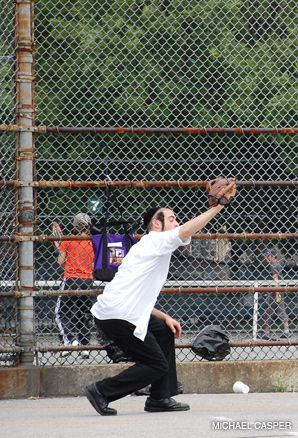 SPORTSMEN: A group of Hasidim play Sunday softball games with the Stormers, a team of Brooklyn?s Greenpoint Softball League.