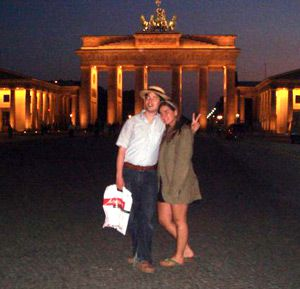Adam and his sister, Emma Goldman, at the Brandenburg Gate