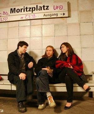Adam and friends at a U-Bahn station