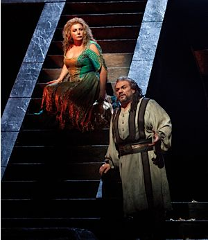 Maria Guleghina as Abigaille and Zeljko Lucic in the title role of Verdi?s ?Nabucco.?