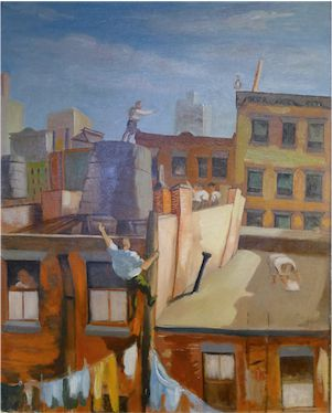 ?City Rooftops? by Louis Ribak. Collection of Steven and Stephanie Wasser.