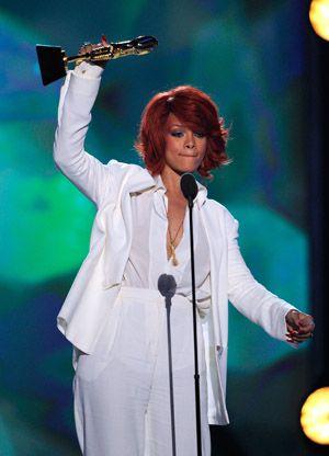 Rihanna accepting a Billboard Music Award in May.