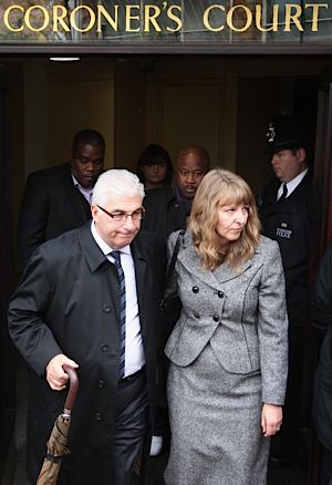Amy Winehouse?s father and stepmother leave St Pancras Coroner?s Court.