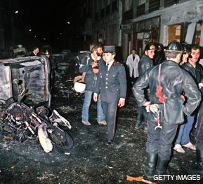 CRIME SCENE: Police at the bombing of a Paris synagogue in 1980, in which there were no arrests, until now.