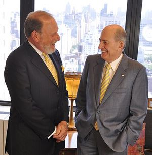 Advice: In their new book, Jeffrey Solomon, left, and Charles Bronfman say modern philanthropy involves making choices.