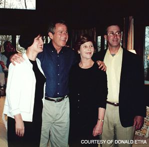 CHUMMY: George and Laura Bush with Donald and Paula Etra at Camp David.