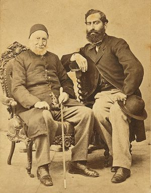 From Turkey to France: Count Abraham- Salomon de Camondo and his grandson, Nissim de Camondo, sitting together in Paris, about 1868.