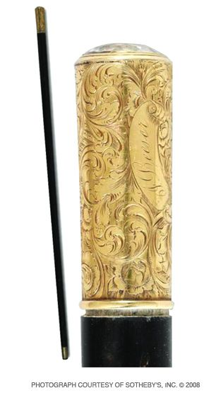 A WELL-CANED REVEREND: Sotheby?s mouthwateringly describes Rabbi Isaac Leeser?s stick as ?Ebonized wood, gold-handled... engraved with scrolling rococo foliage and name of owner in script.?