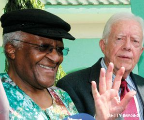 Old Hands: New group of peacemakers includes Bishop Desmond Tutu (left) and former president Jimmy Carter.