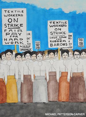 STRIKING: Among Patterson-Carver?s pieces now on display at the New Museum is one of a young Emma Goldman marching with seamstresses in the 1890s.
