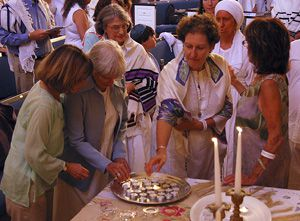 Ritual: Members of Chochmat HaLev pray together at a Yizkor service in 2008.