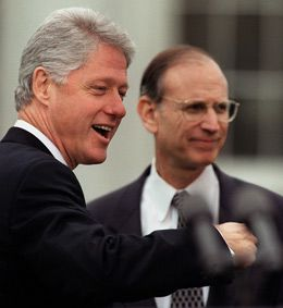 Victory: In 1999, Bill Clinton (left) announces the establishment of a $5 billion fund set up by the German government and German industry to compensate Holocaust survivors and their fami- lies. The chief negotiator, U.S. Deputy Treasury Secretary Stuart Eizenstat, looks on.