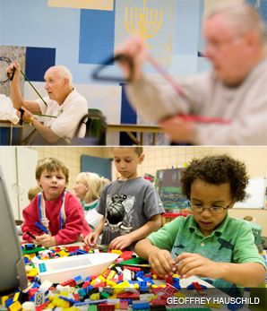 ALL ARE WELCOME: Top: Senior citizens take part in a fitness program at the JCC in Youngstown, Ohio. Bottom: Children?s day care draws a diverse crowd at the Youngstown JCC.