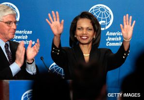 HANDS OFF: Secretary of State Condoleezza Rice received a standing ovation at an April 29 address to the American Jewish Committee, where she slammed Syria as a destabilizing force in the Middle East. But despite her strong words, the Bush administration appears to have shifted away from active opposition to Israeli-Syrian peace talks.