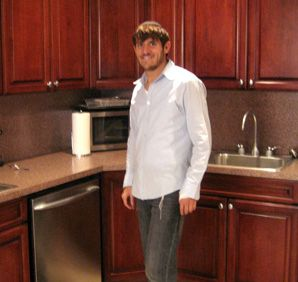 Shmuli Kopstein in his two-sink kitchen in Crown Heights