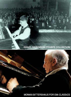 CITIZEN OF THE WORLD: Daniel Barenboim, at age 7 in 1950, playing his first public concert, Buenos Aires; and in 2006, Berlin.