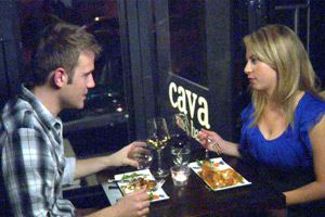 First Date chatter: Justin Lewis (Dylan Pinter) and Sarah Rappaport (Samantha Karlin) make small talk on the first episode of ?From Date to Mate.?