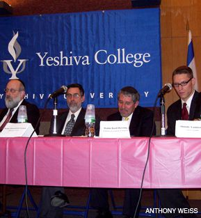 DEBATE: Arguing kosher ethics, fom left: Avi Shafran of Aguda Israel of America; Menachem Genack of Orthodox Union; Basil Herring of Rabbinical Council of America; Shmuly Yanklowitz of Uri L?Tzedek.