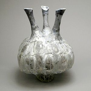 Arty and Environmental: ?Vessel With 3 Spouts? (2009), a vase made of discarded plastic, paint and acrylic polymer by Shari Mendelson.