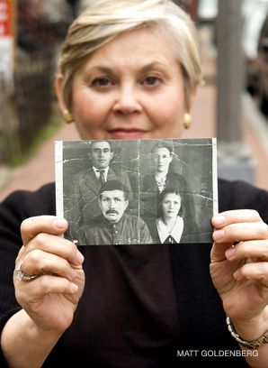 Family of Foer: Author Jonathan Safran Foer's mother Esther holds a picture of relatives from Trochenbrod.