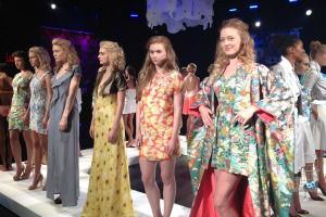 Models at the Fashion Law Institute show.