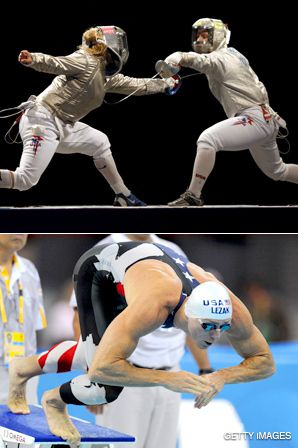 AT THE GAMES: American fencer Sada Jacobson, top, won a silver medal; Jason Lezak, above, broke the world record in the 4x100-meter freestyle relay team.