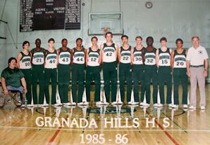 The undefeated basketball squad of Granada Hill featured one Asian-American, five black and six white students, including Andrew Furman (fourth from left)