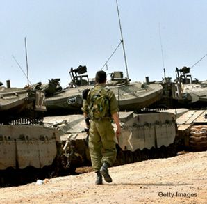 Battle Lines: A column of ISrael tanks lined the Gaza border March 3, during incursions into the Hamas-run strip to halt rocket fire which more than 100 Palestinians were killed and hundreds wounded.