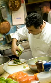 Street Fare: Haim Cohen prepares a meal of updated Israeli street food at the James Beard Houses.