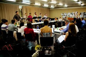 Striking a Chord: The cast and creative team at the first rehearsals for ?Harmony? by Barry Manilow and Bruce Sussman.