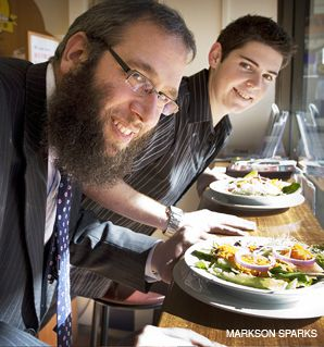 LIGHTER LOAD: Rabbi Mendel Kastel (left), shown with Sam Rowen, is launching a campaign to encourage Jews to lose weight.