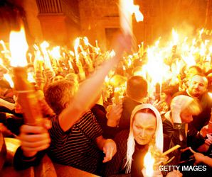 Fired Up: For centuries, Orthodox Christians have gathered each Easter at Jesus? final resting place to celebrate the Miracle of the Holy Fire, but concern is high that a turf battle may mar this year?s ceremony.