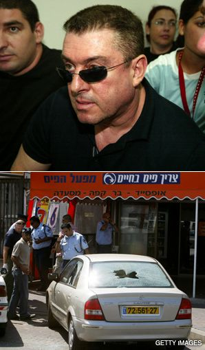 FAMILY FEUD: Police in Netanya gather evidence following a September shootout between two crime families. Zeev Rosenstein (above), the first Israeli crime boss extradited to the U.S., is now back serving time in an Israeli jail.
