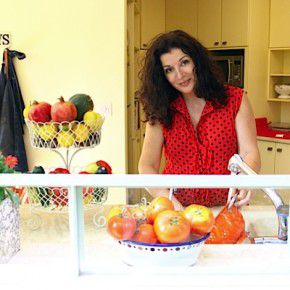 Janna Gur cooking in her home in Israel.