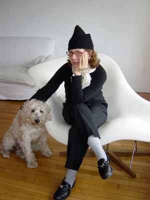 Just Me And My Dog : Maira Kalman and friend, possibly a model for her 1999 New Yorker cover, ?Dog Reads Book.?