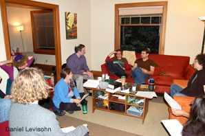 GETTING PERSONAL: Members of Seattle's Kavana study together in a partner's apartment on a Wednesday night in October