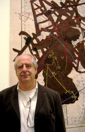 BLACK AND WHITE: South African painter William Kentridge posed before one of his works.