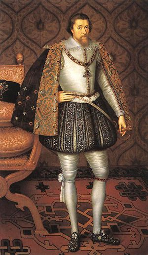 Man In Tights: King James autho- rized a version of an English Bible.