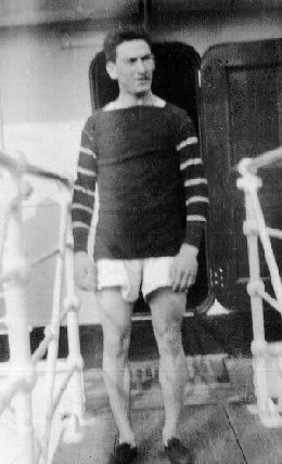 All Aboard: Kiviat wears his boyhood Norwood Athletic club uniform on the S.S Finland in 1912.