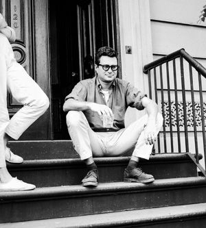 Smooth Krim: The essayist chilling on the stoop of an East Village townhouse.