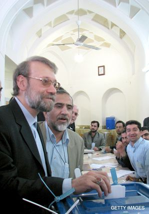 THE CONTENDER: Ali Larijani (left) is expected to challenge Mahmoud Ahmadinejad in next year?s race for the Iranian presidency.
