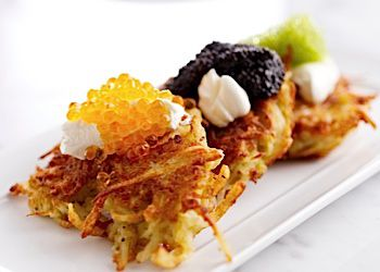 Latkes are topped with caviar at Kutsher?s Tribeca.