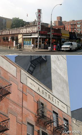 STILL STANDING standing: The Streit?s matzo factory (bottom) is staying put for the time being, while Katz?s Delicatessen reports that offers from developers have dropped off since the economic downturn.