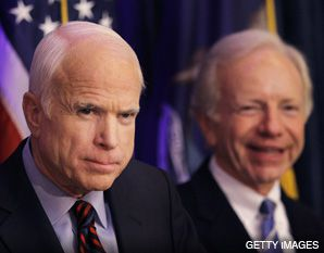 JOHN AND JOE: Senators McCain and Lieberman appeared together at an August 13 press conference.